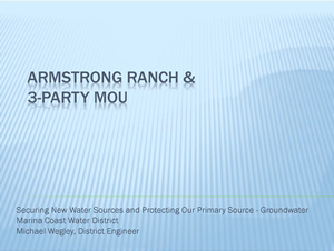 Armstrong Ranch & 3-Party MOU